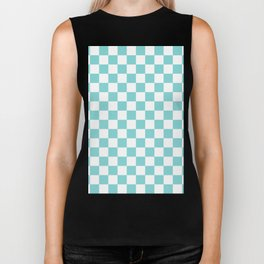 Gingham Pale Turquoise Checked Pattern Biker Tank