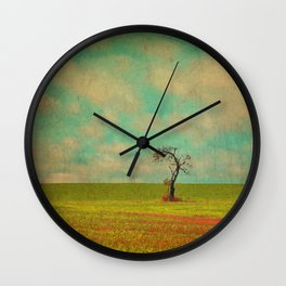 Lonesome Tree in Lime and Orange Field and Aqua and White Sky Wall Clock