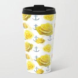 Anchors and Roses Metal Travel Mug