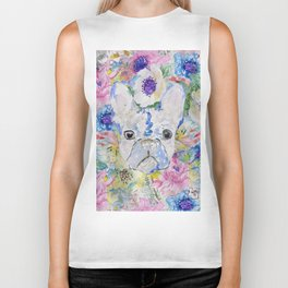 Abstract French bulldog floral watercolor paint Biker Tank