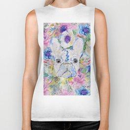 Abstract French bulldog floral watercolor paint Biker Tank