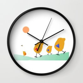 Sunny Family Walking with Kids Wall Clock