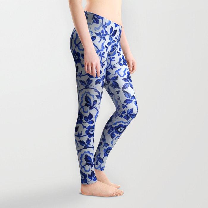 Azulejos blue floral pattern Leggings