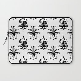 Vintage black white elegant floral damask Laptop Sleeve