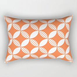Mid Century Modern Geometric Flower Pattern Orange 2 Rectangular Pillow