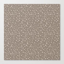 PolkaDots-Peach on Taupe Canvas Print