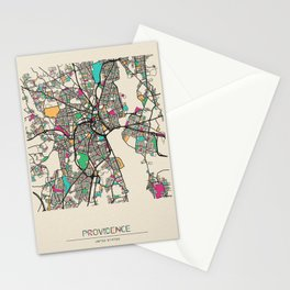 Colorful City Maps: Providence, Rhode Island Stationery Cards