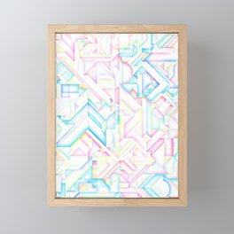 90s Inspired Print // GEOMETRIC PASTEL BRIGHT SHAPES PATTERN GRAPHIC DESIGN Framed Mini Art Print