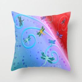 Dragonflies spring bloom Throw Pillow