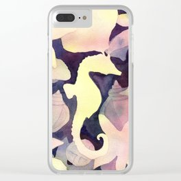 Seahorse Negative Watercolor Painting Clear iPhone Case