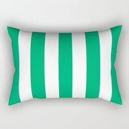 GO green - solid color - white vertical lines pattern Rectangular Pillow