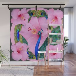 TROPICAL PINK HIBISCUS FLOWERS & BLUE-GREEN PEACOCK Wall Mural