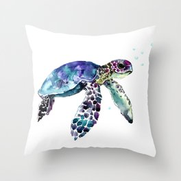 Sea Turtle, Baby Turtle animal artwork for children Throw Pillow