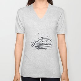 Bicycle with stars and small car Unisex V-Neck