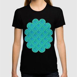 Teal Parasols Pattern T-shirt
