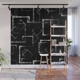 Bright carved squares and white rhombuses on a black background. Wall Mural