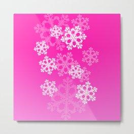 Cute pink snowflakes Metal Print