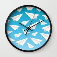 planes Wall Clocks featuring Paper Planes by Elle Moz