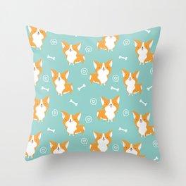 Sweet corgis pattern Throw Pillow