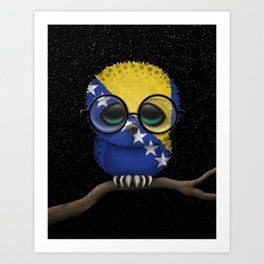 Baby Owl with Glasses and Bosnian Flag Art Print