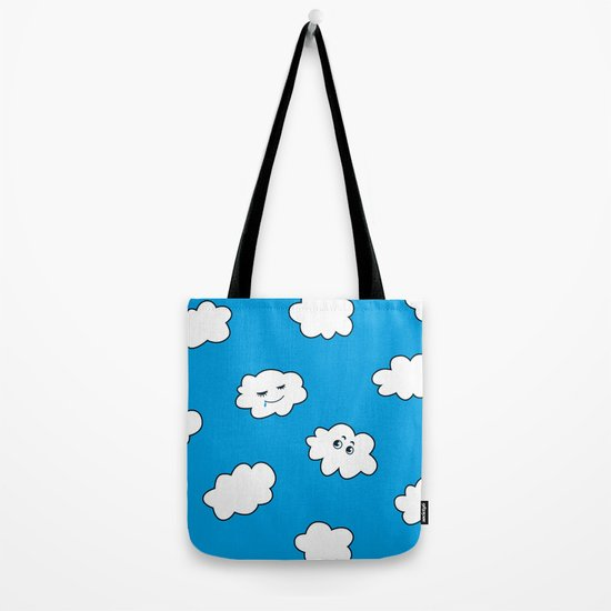 Blue Sky Happy Funny Clouds Tote Bag