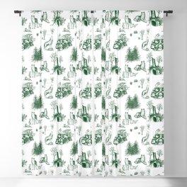 Eurasian Wolf Toile Pattern (Green) Blackout Curtain