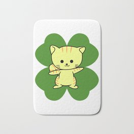 Cat On Four Leaf Clover - St. Patricks Day Funny Bath Mat