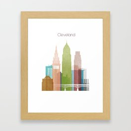 Cleveland art skyline, Framed Art Print