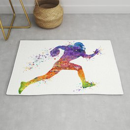 American Football Player Sports Art Colorful Watercolor Art Gift Football Player Gift Sports Decor Rug