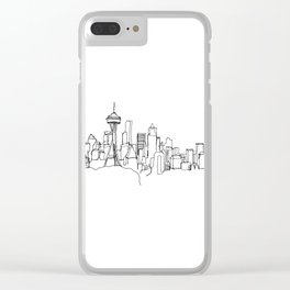 Seattle Skyline Drawing Clear iPhone Case
