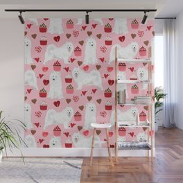 Samoyed valentines day dog portrait cute puppy dogs hearts love valentine for dog person Wall Mural