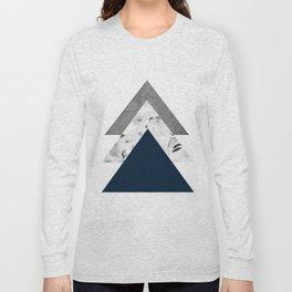 Blue grey monochrome blossom arrows Long Sleeve T-shirt