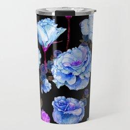 Blue pink purple watercolor roses pattern Travel Mug
