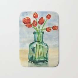Watercolor Tulips in Blue Vase Bath Mat