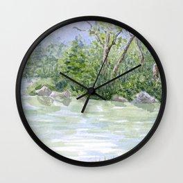 Lake Landscape Watercolor  Wall Clock