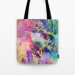 Modern gold marble on pastel pink purple watercolor nebula paint Tote Bag