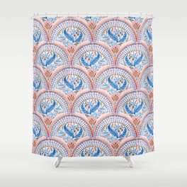 Art Deco Fresco in Sky Blue and Coral Shower Curtain