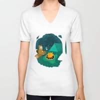 beaver V-neck T-shirts featuring Beaver Camp by Kamero Designs