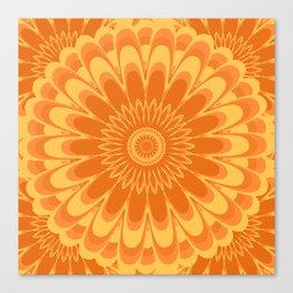Summer In Full Bloom - Orange Mandala Canvas Print