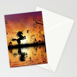 Wonderful unicorn with fairy in the sunset Stationery Cards