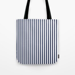 Navy Blue Breton Vertical Stripes Lines Minimal Stripe Line Tote Bag
