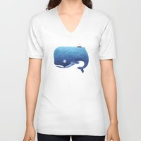 dick V-neck T-shirts featuring Moby Dick by Arianna Usai