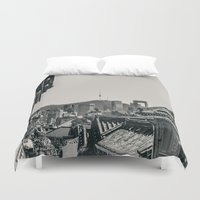 seoul Duvet Covers featuring Seoul Cityscape by Jennifer Stinson