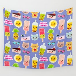 Hello Summer Pineapple, cherry smoothie cup, ice cream, sun, cat, cake, hamster. Kawaii cute face. Wall Tapestry
