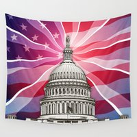 politics Wall Tapestries featuring The World of Politics by politics