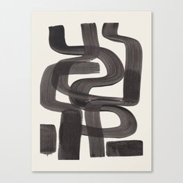 Black Ink Paint Brush Strokes Wiggles Mid Century Modern Canvas Print