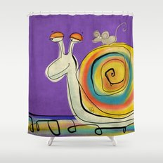 Mouse traveller in zen mode Shower Curtain