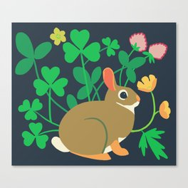 Cottontail Rabbit + Wood-sorrel + Red Clover + Buttercup Canvas Print