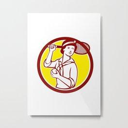 Female Tennis Player Racquet Vintage Circle Retro Metal Print