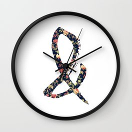Vintage Floral Ampersand Retro Girly Typography Wall Clock